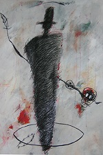 série Figures d'attente, acrylique sur papier, 110×100 cm