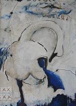 conte, acrylique sur papier, 70×100 cm