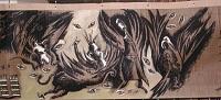 Fresque de 44m x1m, acrylique sur craft illustrant L'Apocalypse de Jean
