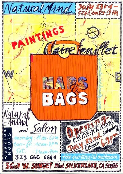 """affiche exposition Maps & Bags """"a romance travel"""" de Claire Feuillet"""