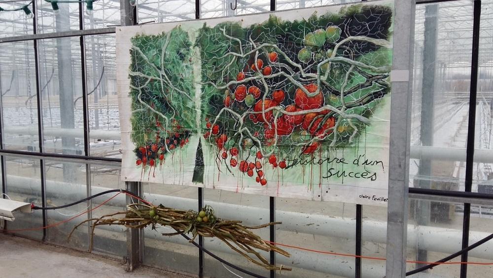 Acrylique sur bâche (130 x 200cm ) + tiges tomates sèches